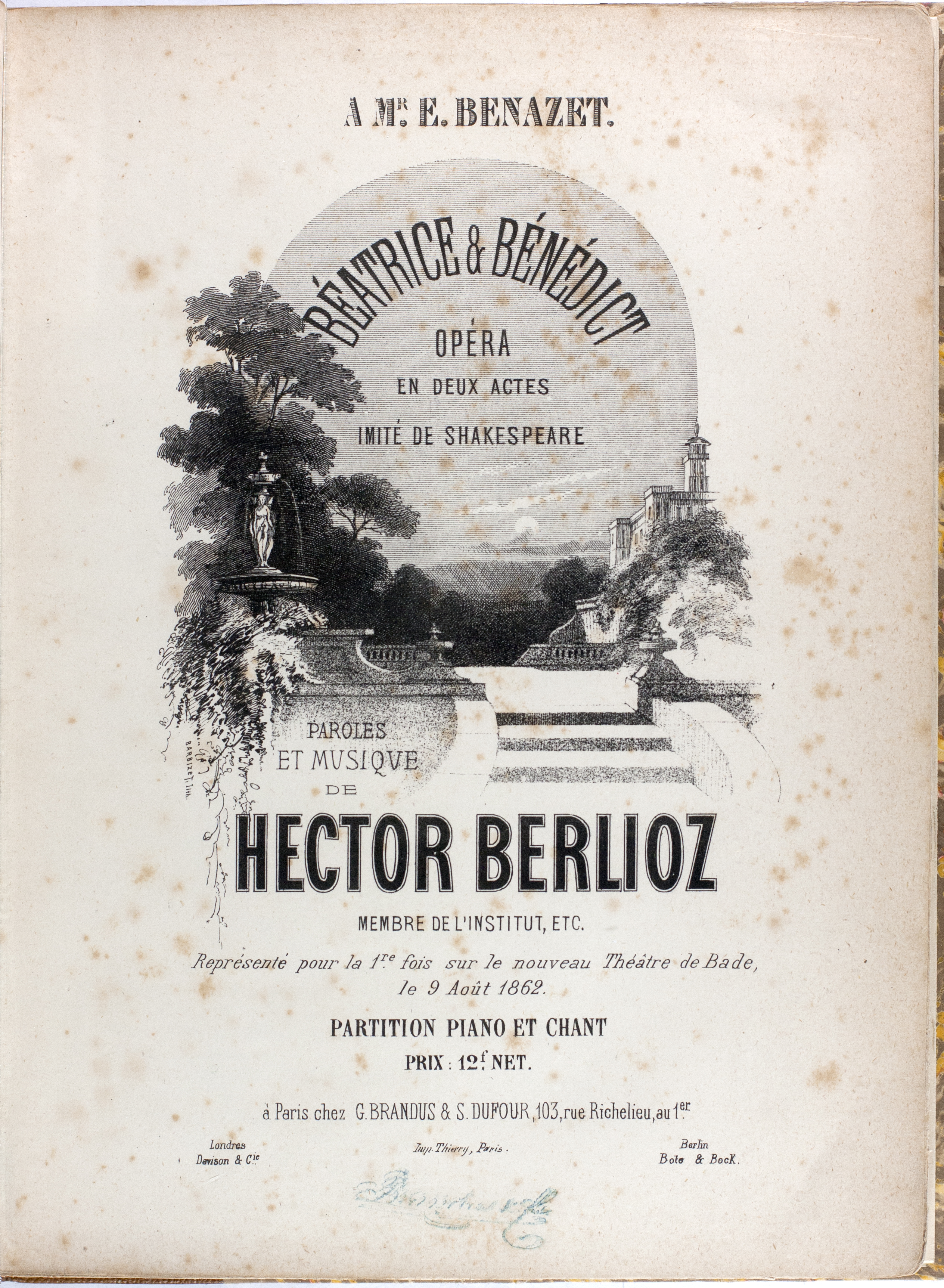 First-edition opera vocal score on display at Seattle Opera during Beatrice and Benedict