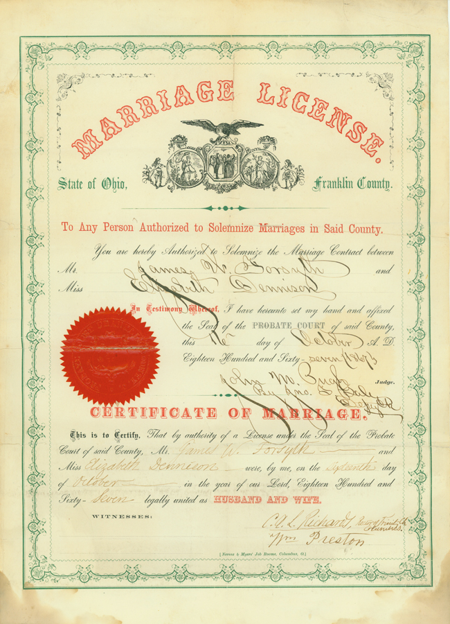 Forsyth Marriage Certificate