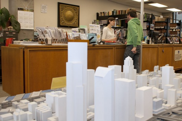 Circulation Desk and Seattle Model in the BE Library