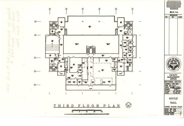 Floor plan of Gould Hall third floor