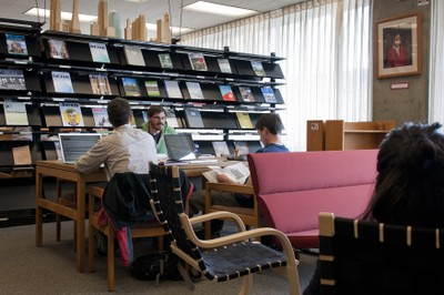 Students studying in the BE Library