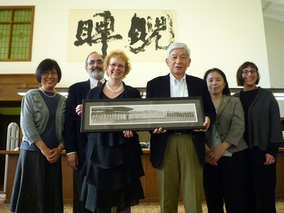 Dean Betsy Wilson and visitors at East Asia Library