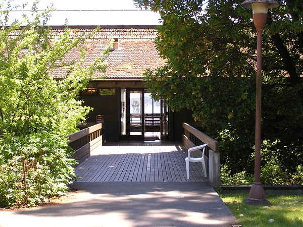 Library building entrance