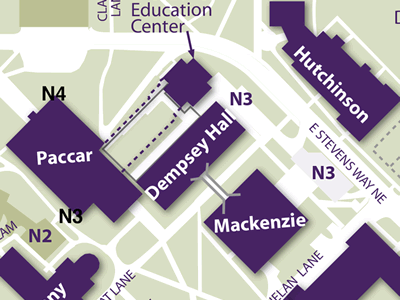 Paccar and Hutchinson Halls on Campus Map