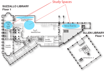 Study Spaces Suzzallo/Allen floor 1