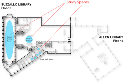 Study Spaces Suzzallo floor 3