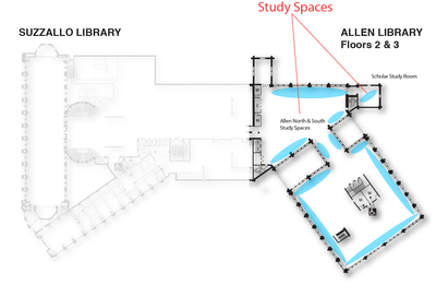 Study Spaces Allen floors 2 and 3