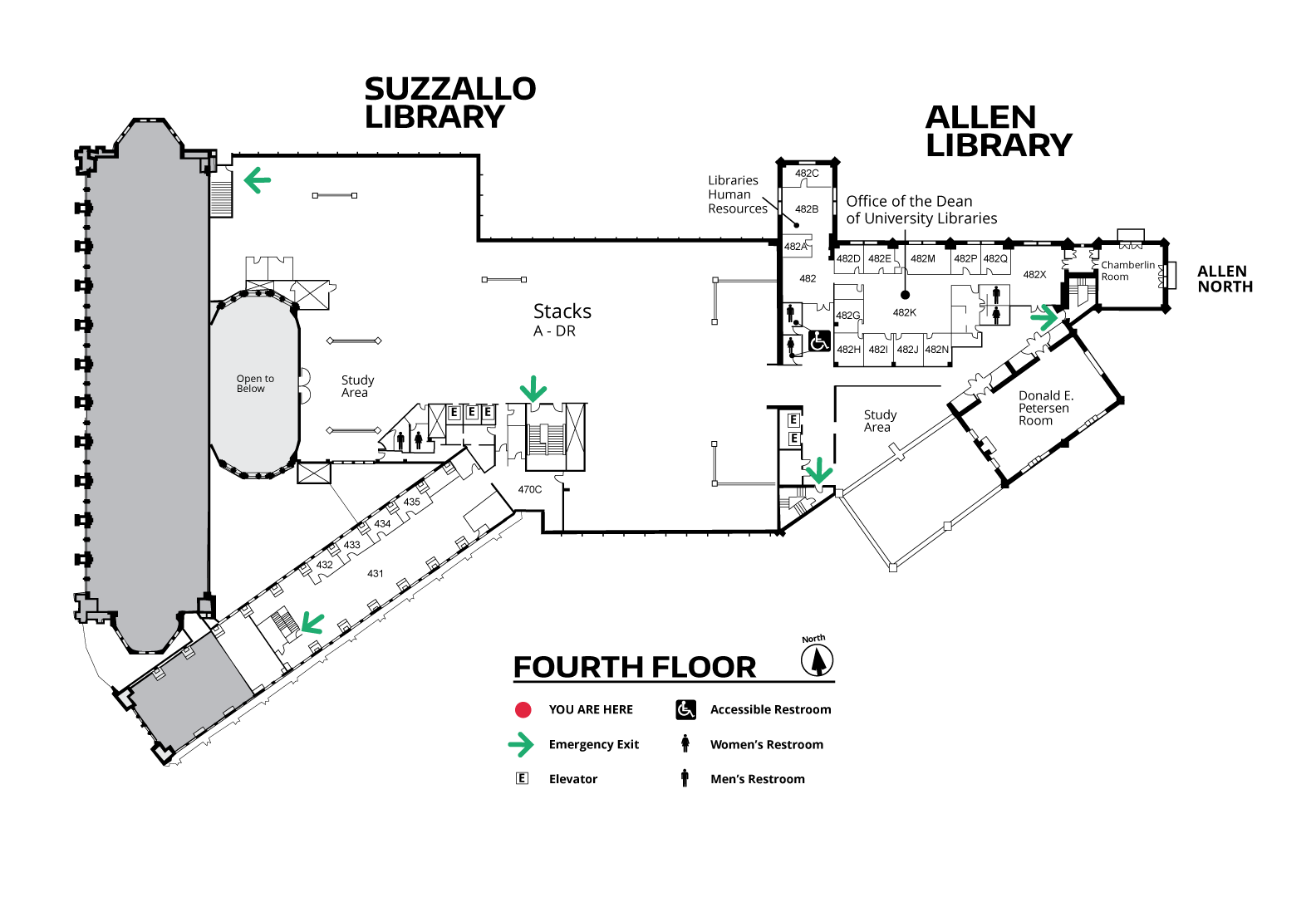 Suzzallo and Allen Fourth Floor Map