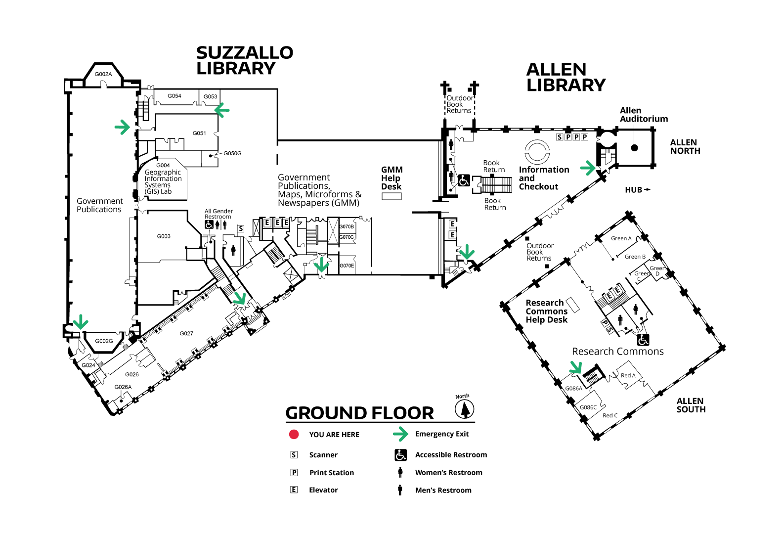 Suzzallo and Allen Ground Floor Map