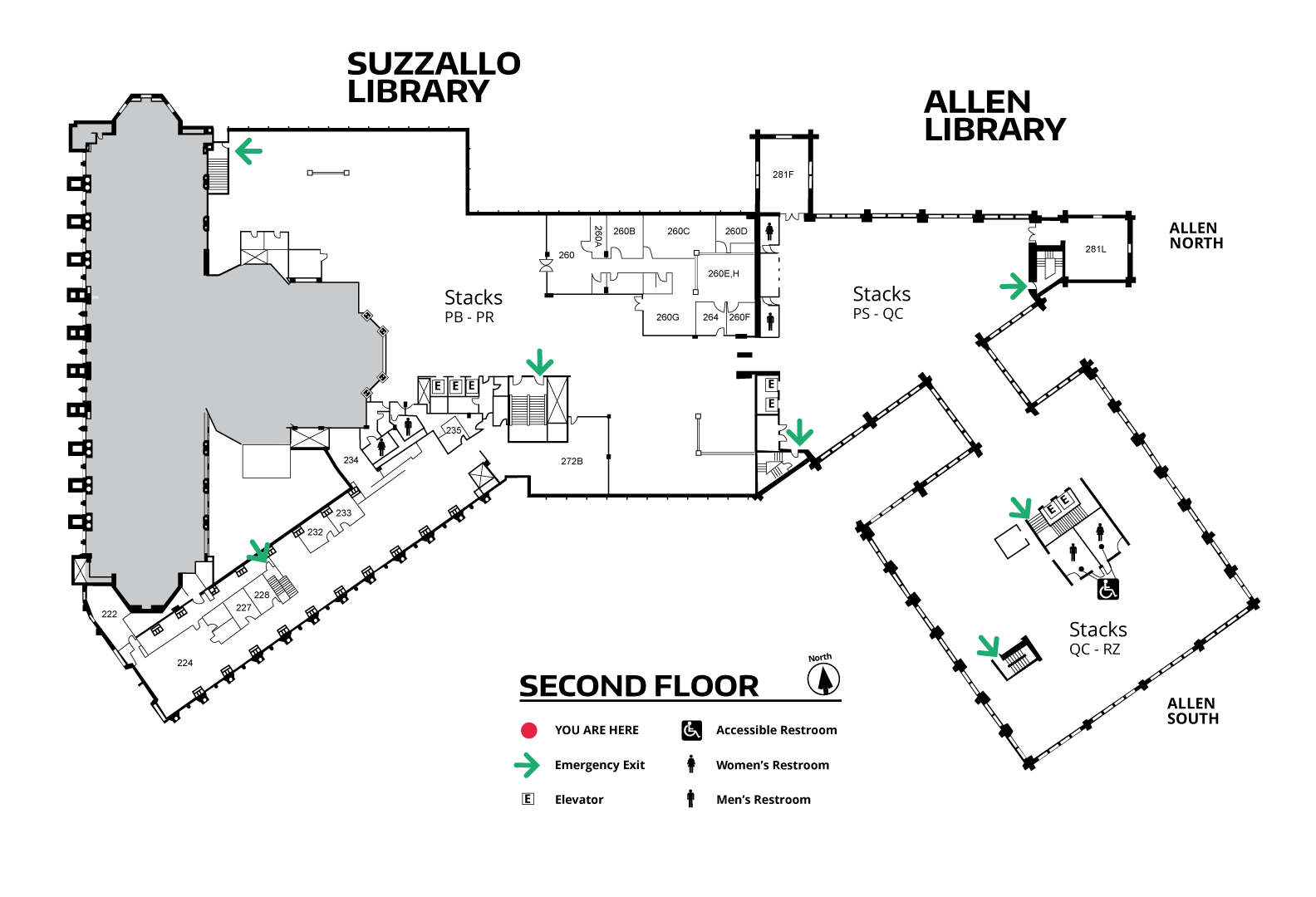 Suzzallo/Allen Second Floor Map