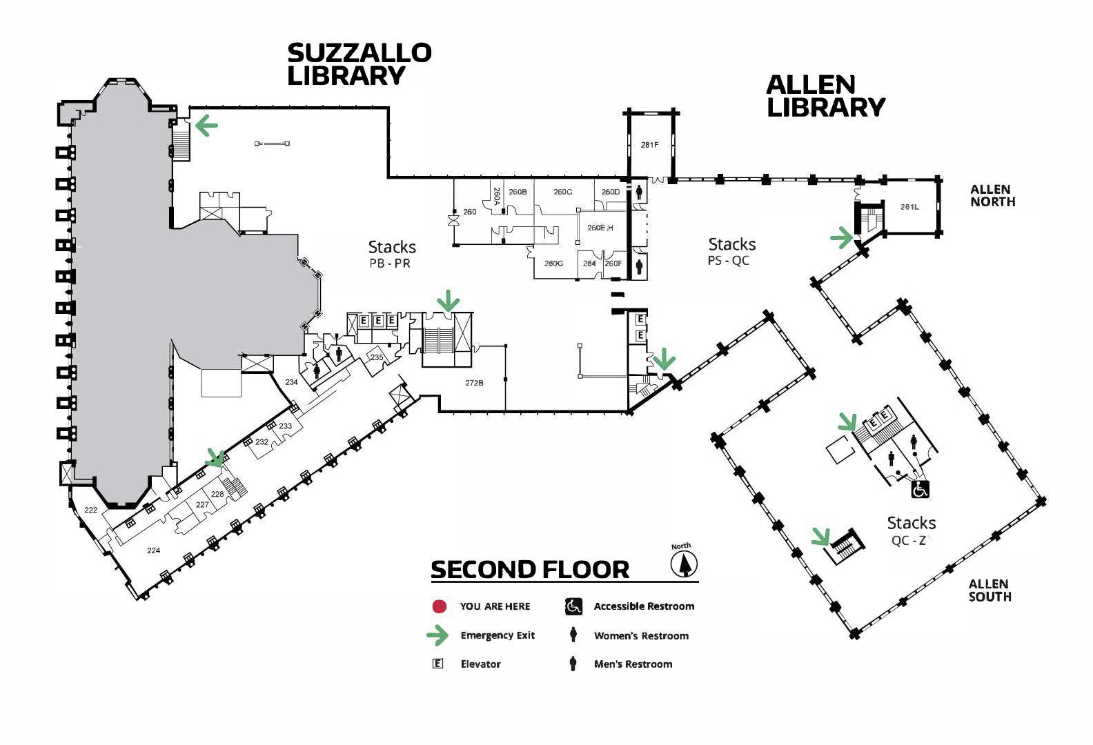 Suzzallo/Allen Second Floor Map