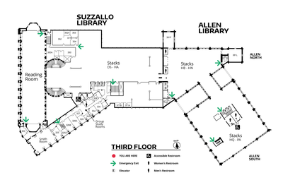 Suzzallo/Allen Third Floor Map