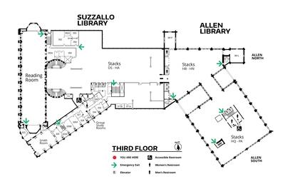 Suzzallo and Allen Third Floor Map