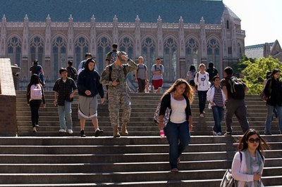 University of Washington students walking on the stairs to Red Square