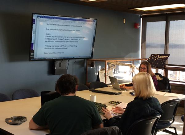 Student sharing screen Friday Harbor Library