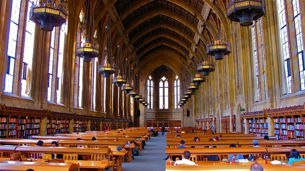 View of the Reading Room looking toward the north alcove.  3rd floor, Suzzallo Library.