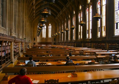 View of the Reading Room in Suzzallo Library looking toward the south alcove.  Photo by Curtis Cronn.
