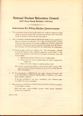 Page 1, National Student Relocation Council questionnaire