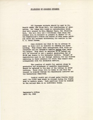 Memo from the Registrar's Office on the evacuation of Japanese students dated April 22, 1942