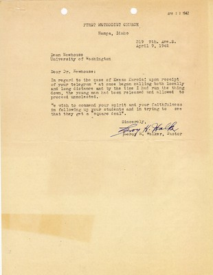 Letter from Paster Leroy H. Walker to Dean Newhouse dated April 9, 1942