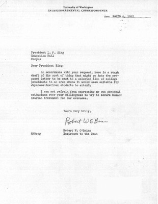 Memo from Robert O'Brien to Lee Paul Sieg