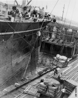 Working conditions involved in handling heavy cargo were a key contention between workers and employers. Allen Yost Collection, Album 2, Manuscripts, Special Collections, University Archives, UW Libraries.