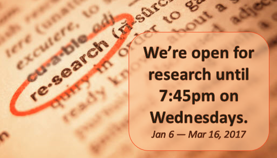 Winter Research Hours